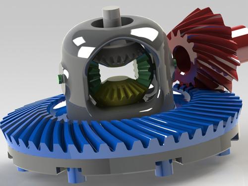 汽车主减速器差速器总成solidworks弧齿锥齿轮设计3D三维模型资料