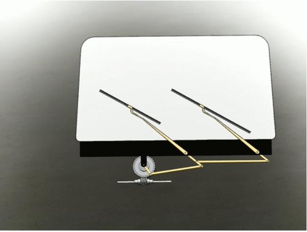 汽车雨刮器刮雨水器solidworks设计图纸3D三维模型运动作模拟仿真
