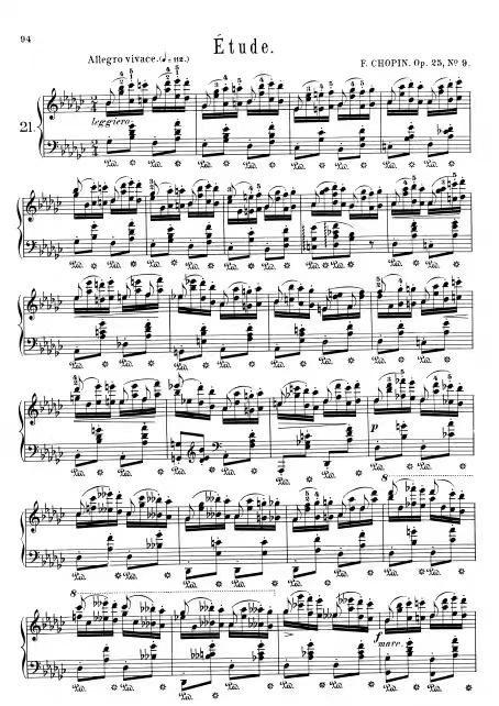肖邦练习曲 Op.25 No.9 蝴蝶 降G大调 原版 钢琴谱 带指法踏板